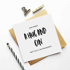 A hug and gin greeting card