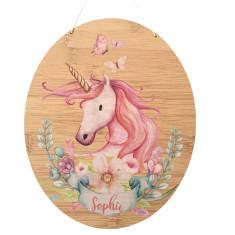 Personalised unicorn bamboo wood wall hanging