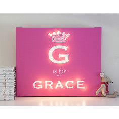 Personalised princess illuminated canvas