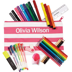 Personalised striped stationery set in pink or blue