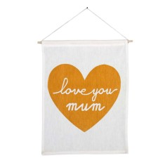 Love you mum handmade wall banner with gold print