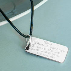 Personalised sterling silver dog tag necklace