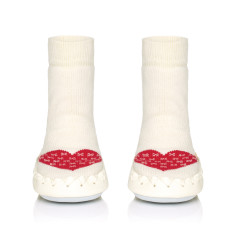 Baby's warm heart moccasin slippers