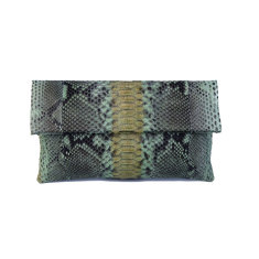 Sage motif python leather classic foldover clutch bag
