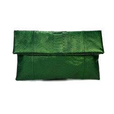 Metallic moss green python leather classic foldover clutch