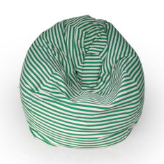Glammclassic beanbag cover in green & white stripes