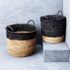 Natural sisal striped basket with handle