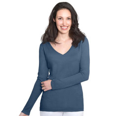 Silk Cashmere V Neck Sweater with Pointelle Detail - Denim Blue