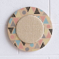 Wall hanging cat scratcher with geometric print