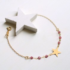 Personalised Gold Little Star and Pink Tourmaline Bracelet