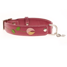 Tulip dog collar in pink