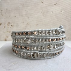 Crystal And Dove Grey Leather Multi Wrap Bracelet