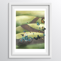 Nursery Wall Art - 'Boy on a Bicycle with Bird, Bees & Butterflies'