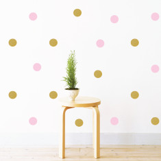 Party gold & pink polka dots wall stickers