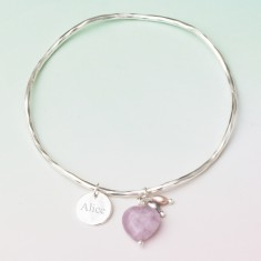 Maja Semi-Precious Stone Heart Silver Charm Bangle