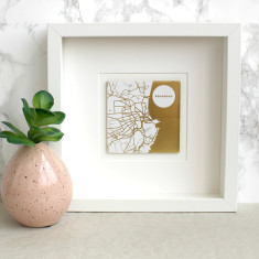 Personalised Gold Geometric Map Picture