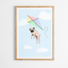 Pugs may fly art print in kite design