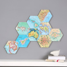 Set of 10 personalised map location hexagons