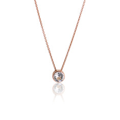 Crystal & Rose Gold Vermeil Round Pendant