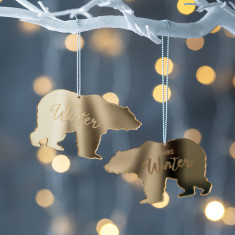 Personalised Mirrored Mr And Mrs Polar Bear Decoration