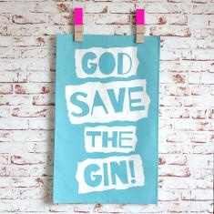 God save the gin tea towel