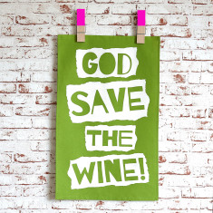 God save the wine tea towel in green