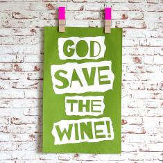 God save the wine tea towel in green