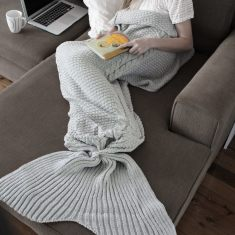 Luxe Adult Mermaid Tail Blanket in Ash Grey