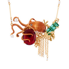 Octopus And Red Faceted Glass On Corals Semi-Pearly Necklace