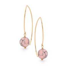 Gold fill and pink howlite long drop earrings