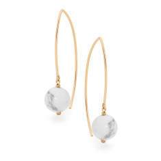 Gold fill and white howlite long drop earrings