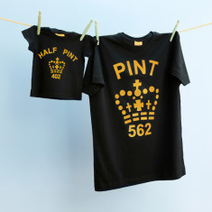 Matching pint tee & half pint tee set (gold & black)