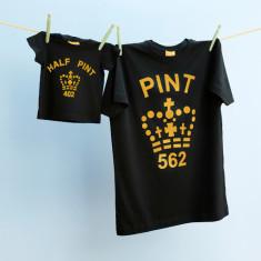Matching pint tee & half pint tee set (gold & black)