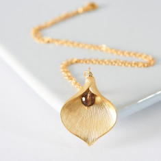 Gold plated lily necklace