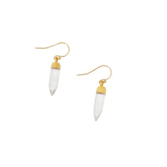 Gold crystal point earrings
