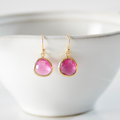 Gold Ruby Raindrop Earrings