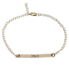 Personalised 18ct gold filled bar bracelet