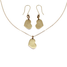 Little heart 9K gold earrings and necklace set