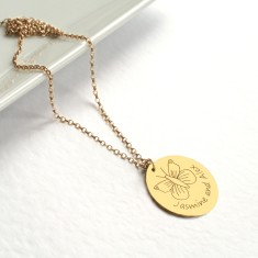 Personalised gold large disc necklace