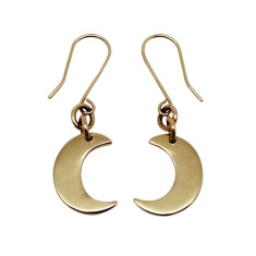 Handmade little moon 9K gold earrings