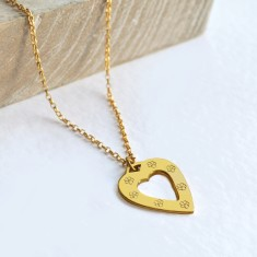Personalised gold medium open heart necklace