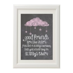 Friends are like stars chalk style print