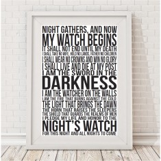 Game of Thrones the night's watch oath print