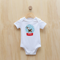 Personalised Christmas reindeer snow globe bodysuit