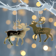 Personalised Gold Mirrored Reindeer Decoration