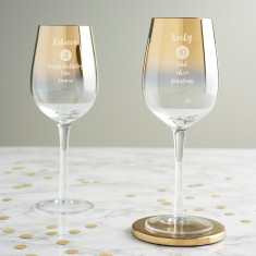 Personalised Special Age Birthday Gold Wine Glass For Her