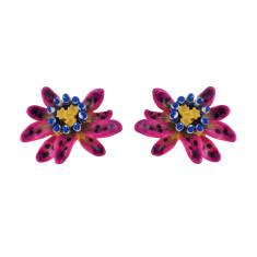 Purple and blue flower earrings