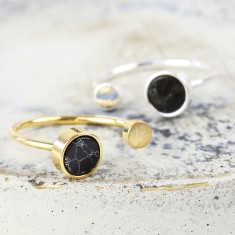 Black Marble Double Disc Ring