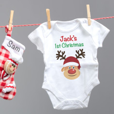 Personalised 'My First Christmas' Reindeer Baby Grow