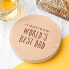 Worlds Best Dad Coloured Edge Coaster